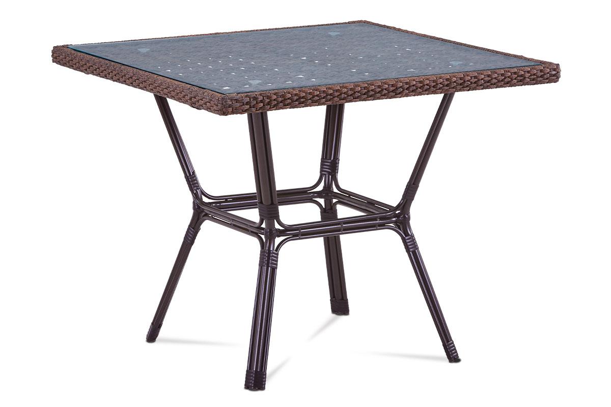 Autronic - Zahradní stůl, sklo, hnědý umělý ratan, kov, hnědočerný lak - AZT-121 BR