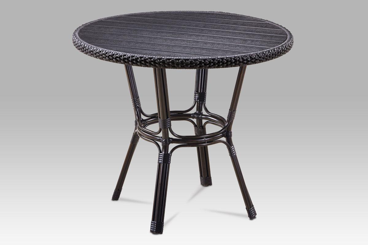 Autronic - Zahradní stůl, kov hnědý, umělý ratan černý, polywood černý - AZT-131 BK