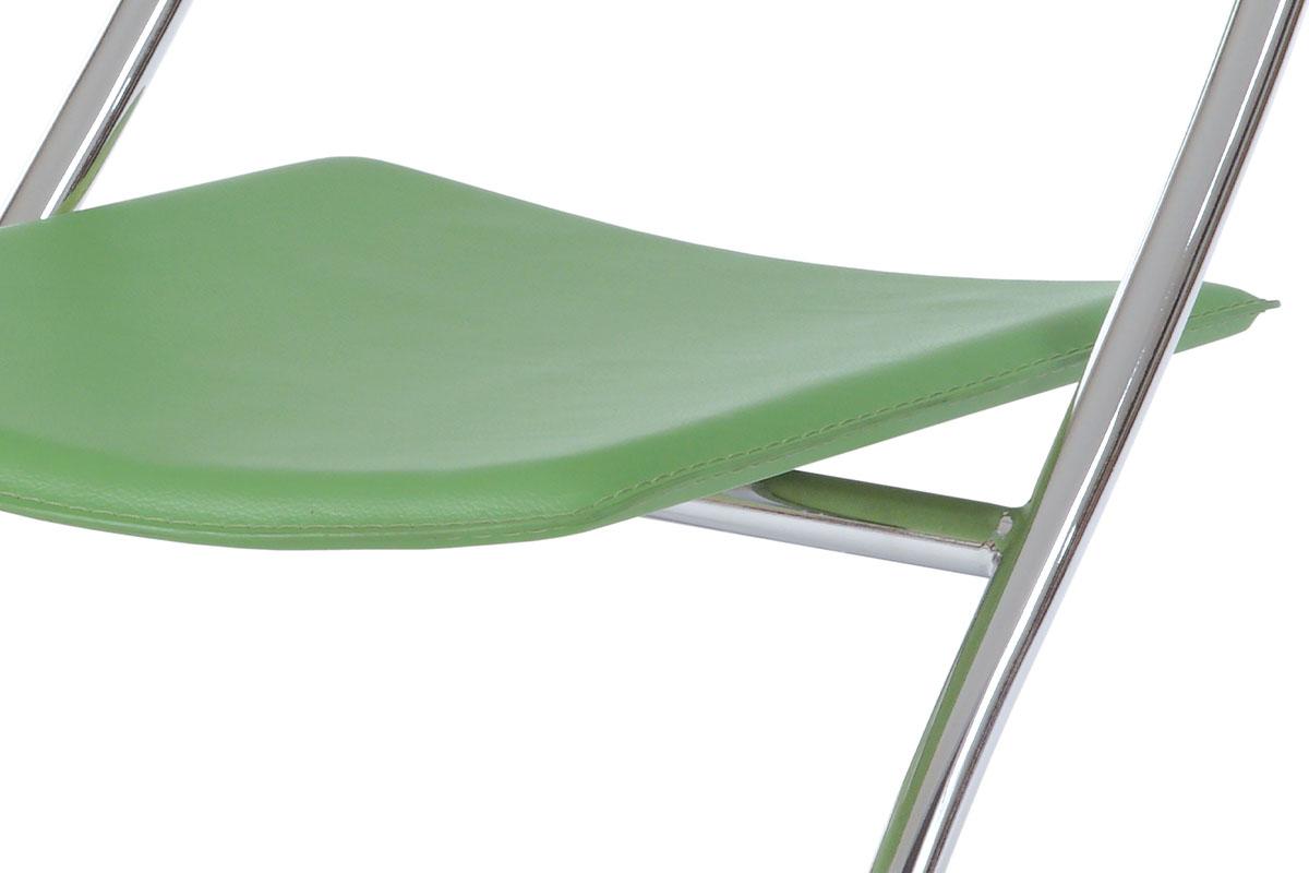 Židle chrom / zelená koženka - B161 GRN