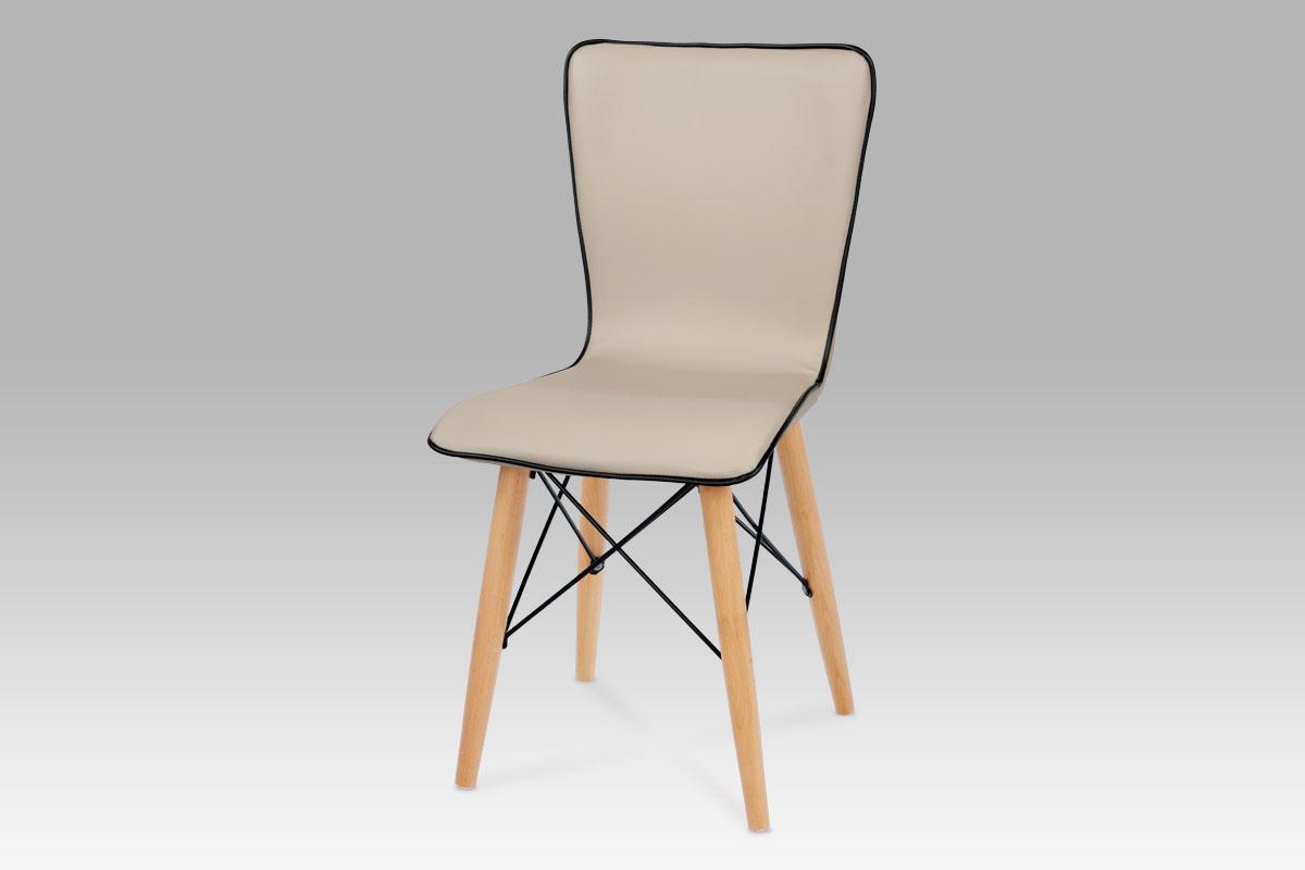 Jídelní židle koženka cappuccino / natural