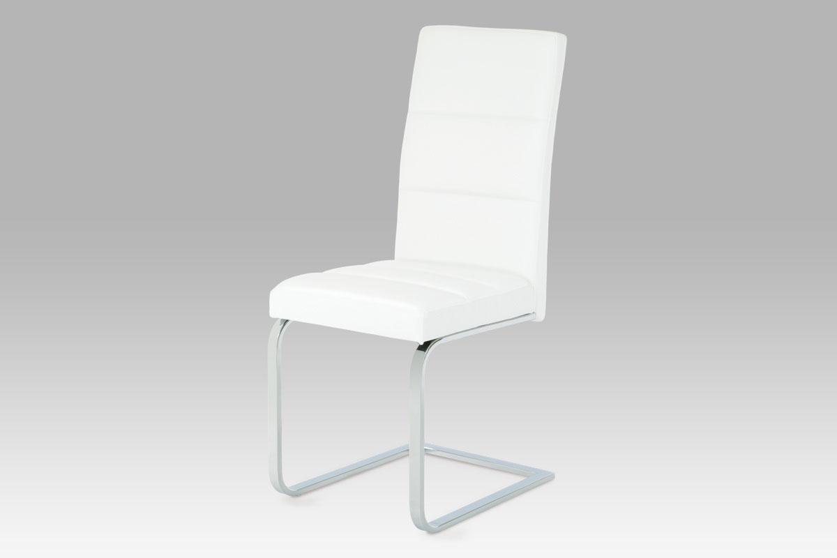 Autronic - Jídelní židle koženka bílá / chrom - B931N WT1