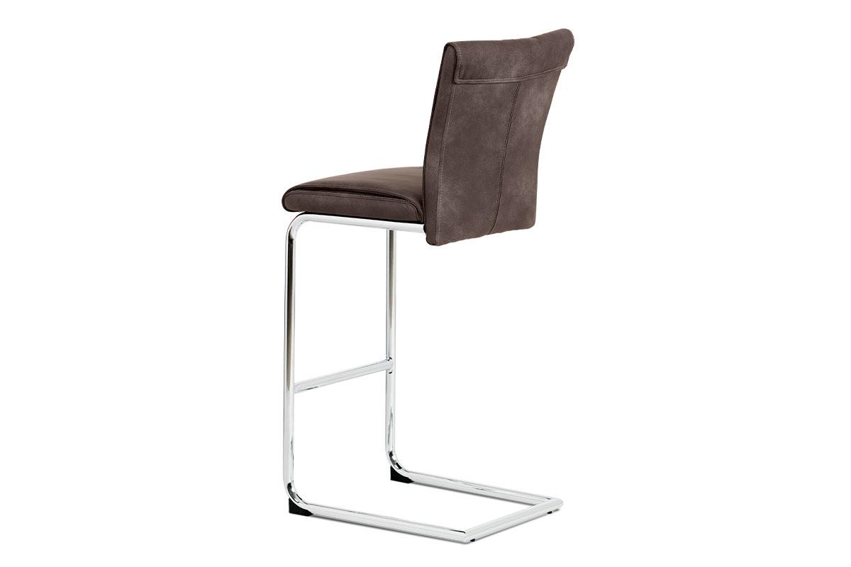 Barová židle, hnědá ekokůže v dekoru vintage kůže, chromovaná pohupová podnož - BAC-192 BR