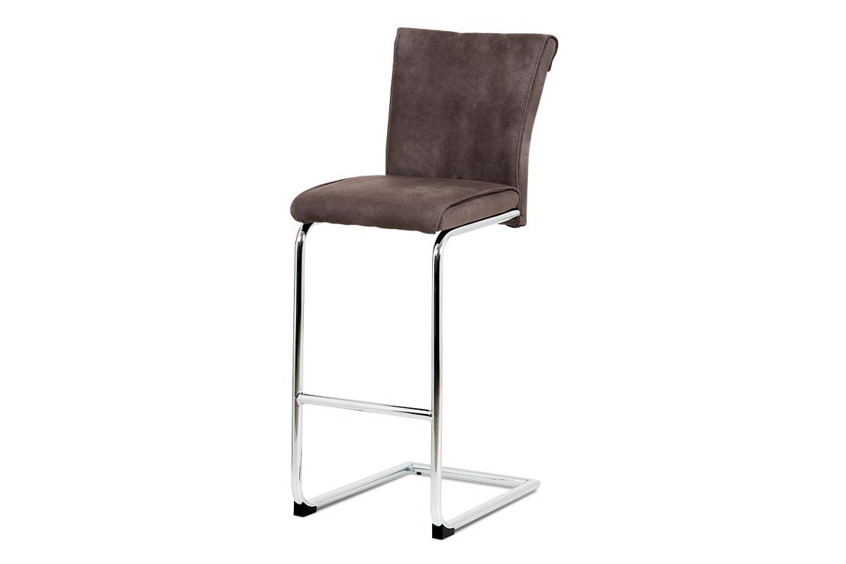 Autronic - Barová židle, hnědá ekokůže v dekoru broušené kůže, chromovaná pohupová podnož - BAC-192 BR
