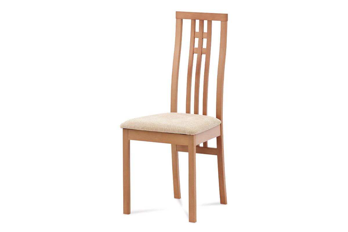 Autronic - Jídelní židle masiv buk, barva buk, potah krémový - BC-2482 BUK3