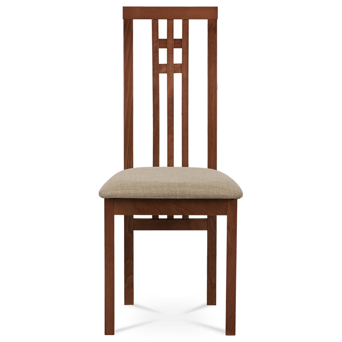 Jídelní židle, masiv buk, barva třešeň, látkový béžový potah - BC-2482 TR3