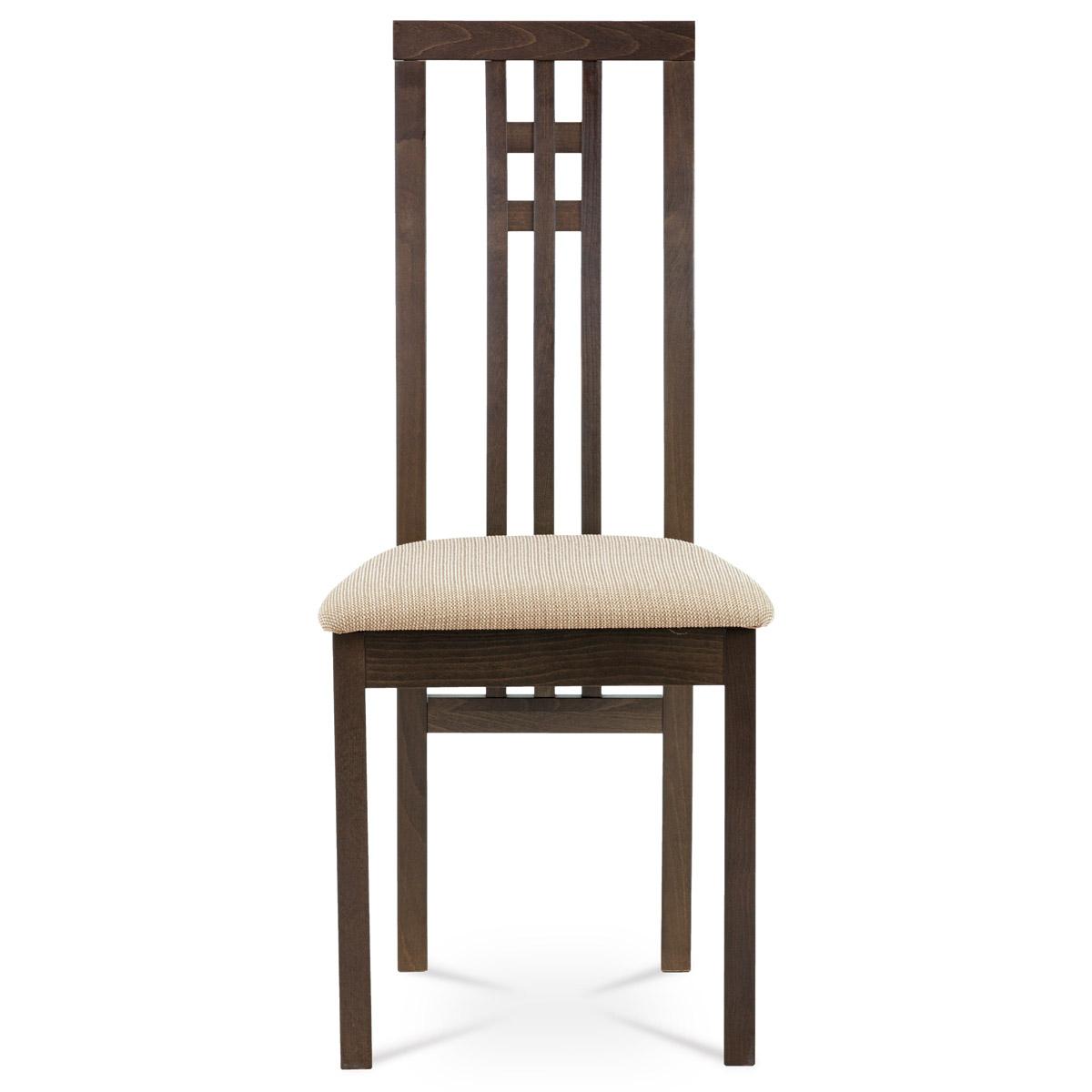 Jídelní židle, masiv buk, barva ořech, látkový krémový potah - BC-2482 WAL