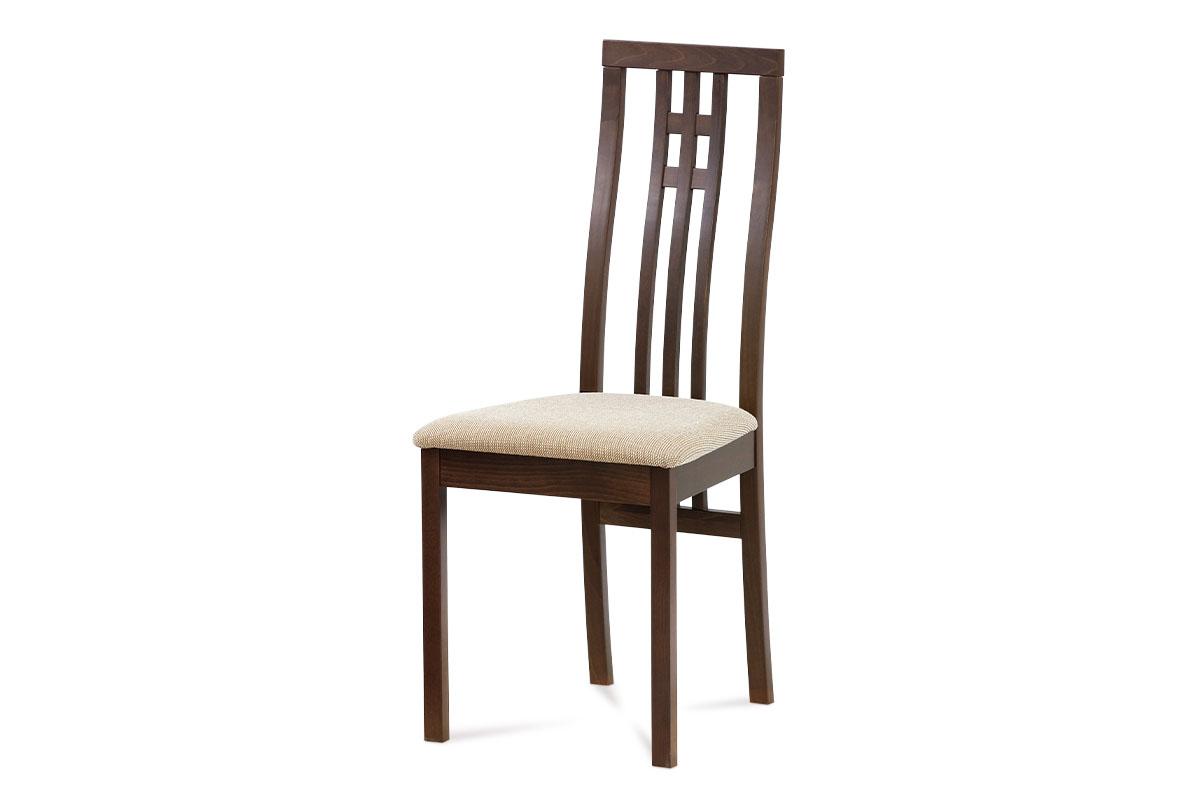 Autronic - Jídelní židle masiv buk, barva ořech, potah krémový - BC-2482 WAL