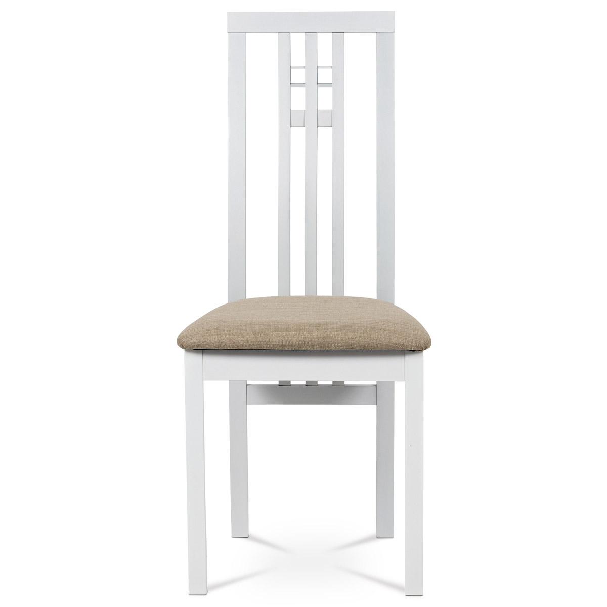 Jídelní židle, masiv buk, barva bílá, látkový béžový potah - BC-2482 WT