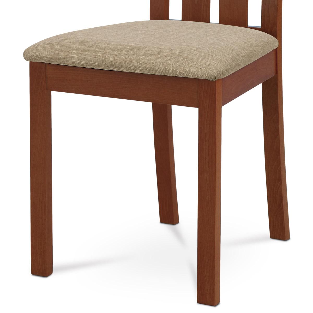Jídelní židle, masiv buk, barva třešeň, látkový béžový potah - BC-2602 TR3