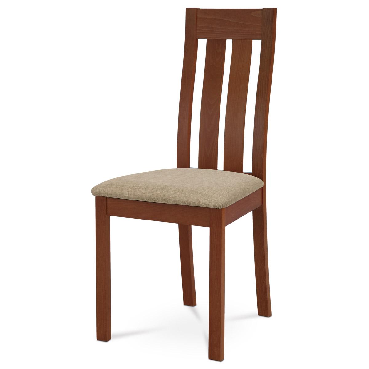 Autronic - Jídelní židle masiv buk, barva třešeň, potah béžový - BC-2602 TR3