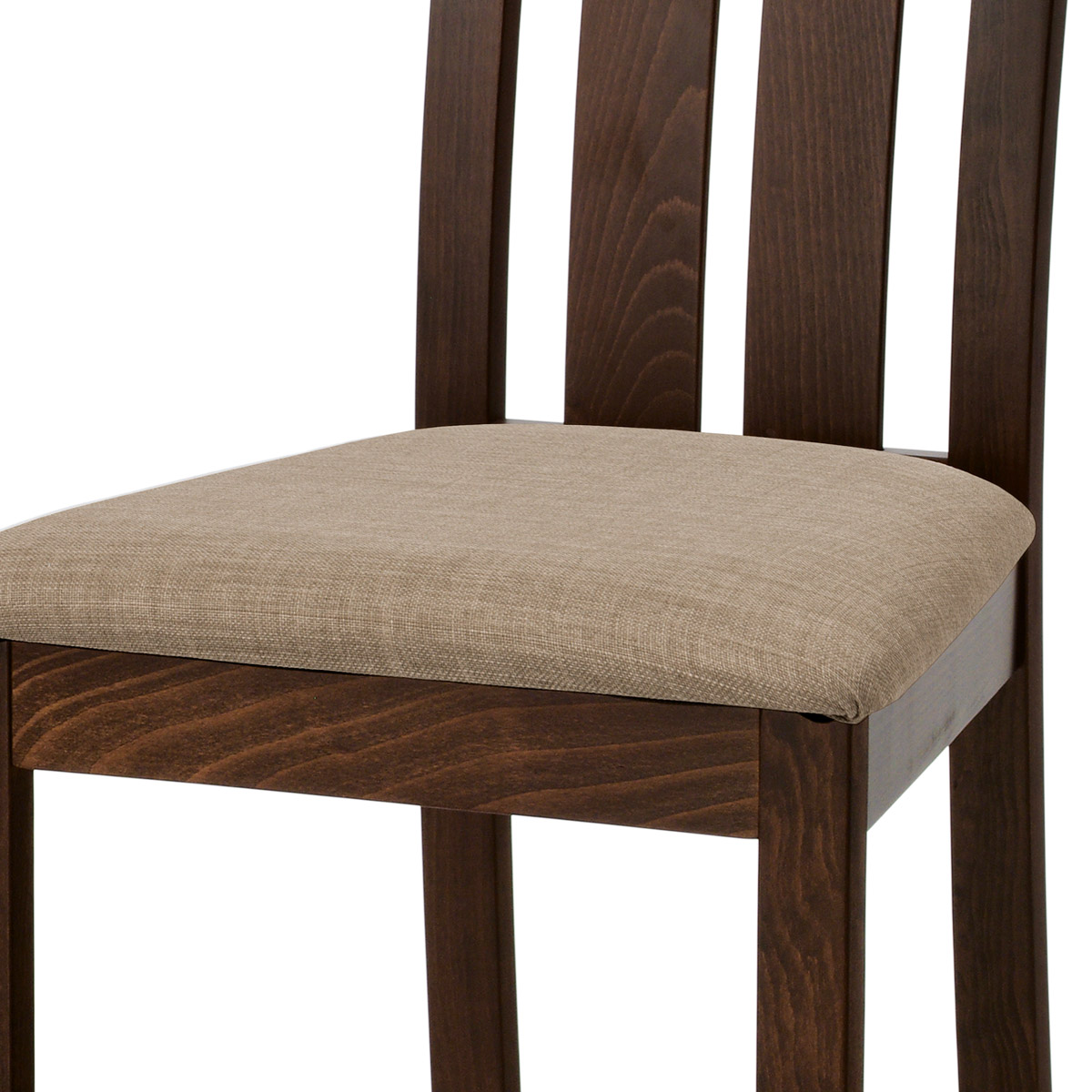 Jídelní židle, masiv buk, barva ořech, látkový béžový potah - BC-2602 WAL