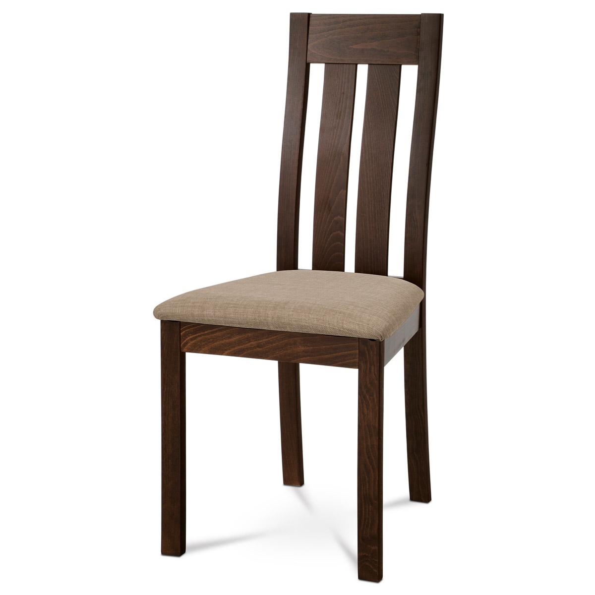 Autronic - Jídelní židle masiv buk, barva ořech, potah béžový - BC-2602 WAL