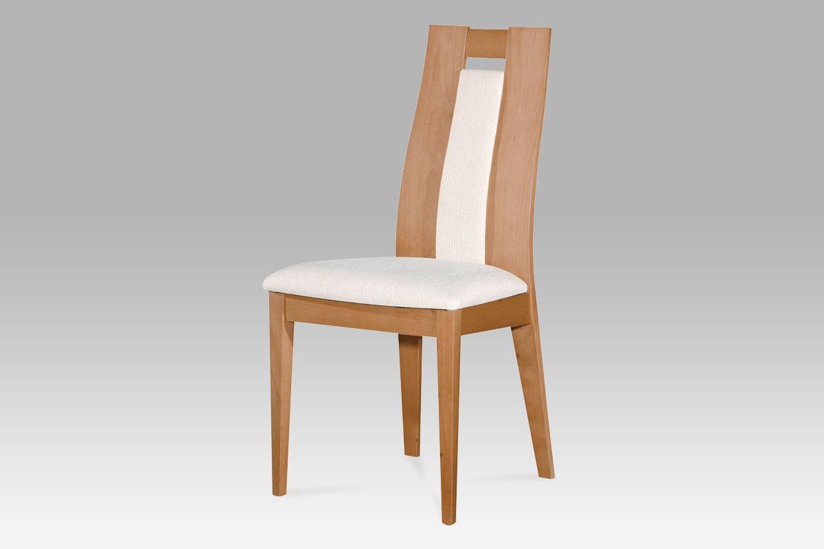 Autronic - Jídelní židle masiv buk, barva buk, potah krémový - BC-33905 BUK3