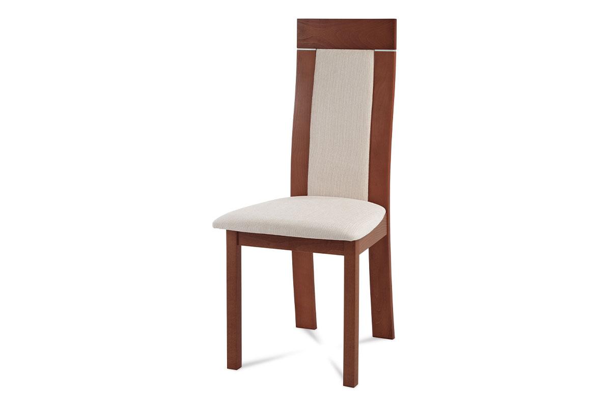 Autronic - Jídelní židle masiv buk, barva třešeň, potah krémový - BC-3921 TR3
