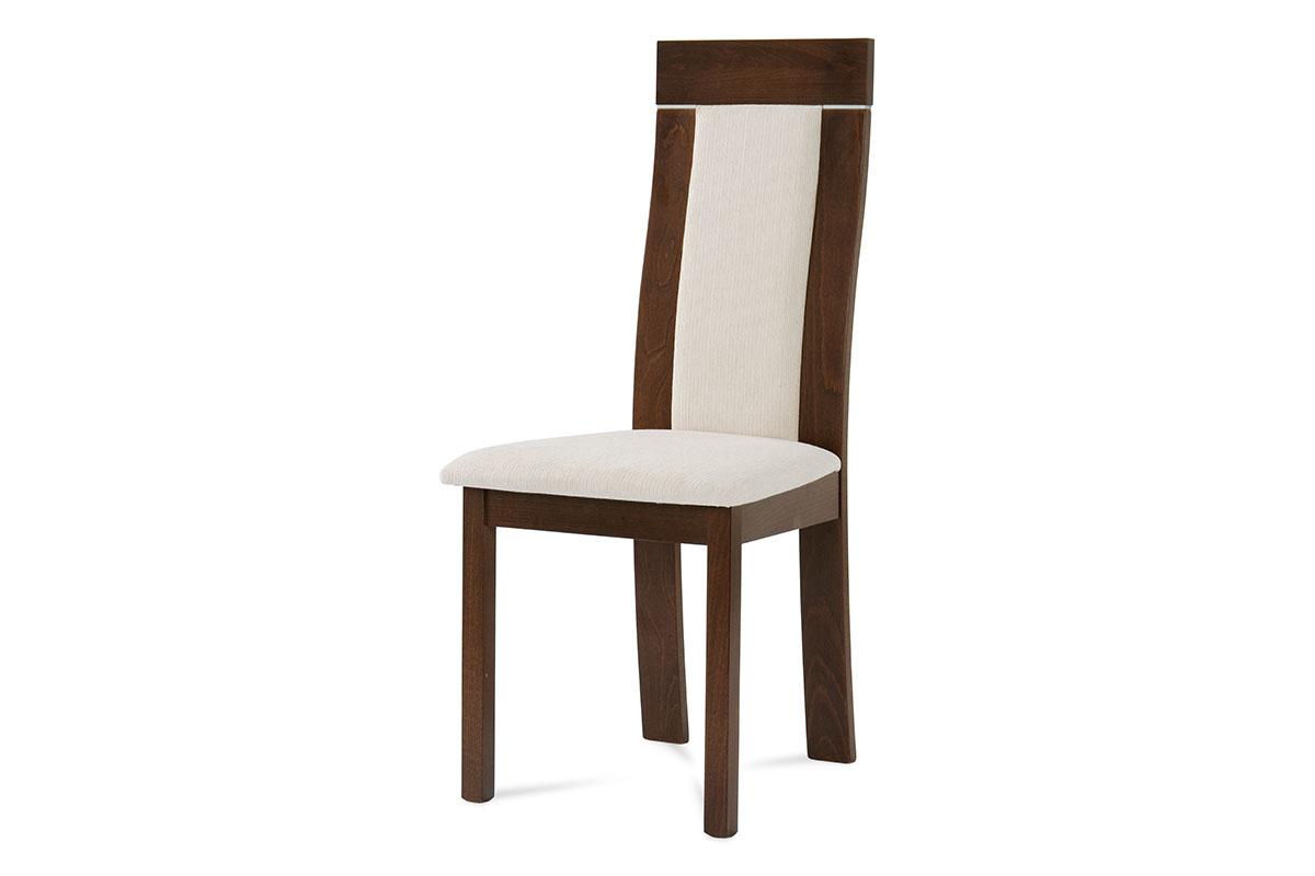 Autronic - Jídelní židle, barva ořech, potah krémový - BC-3921 WAL