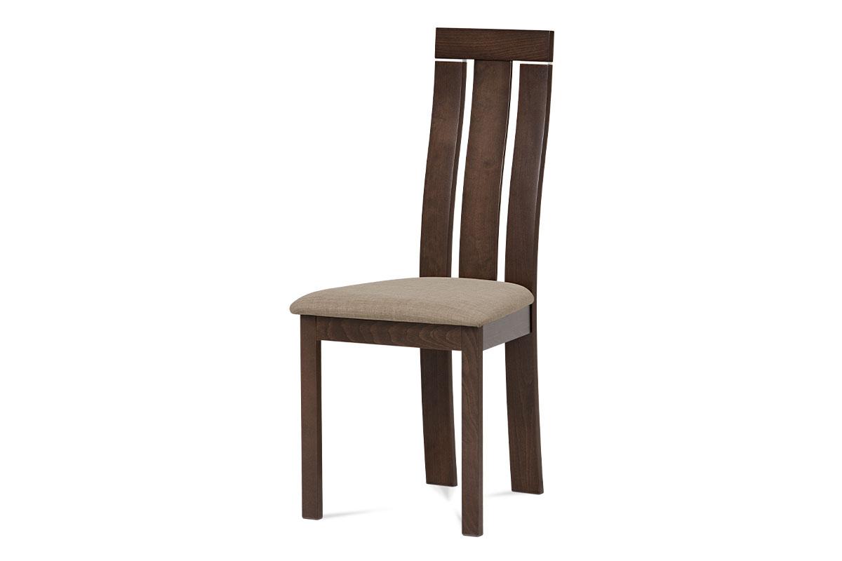 Autronic - Jídelní židle masiv buk, barva ořech, potah krémový - BC-3931 WAL
