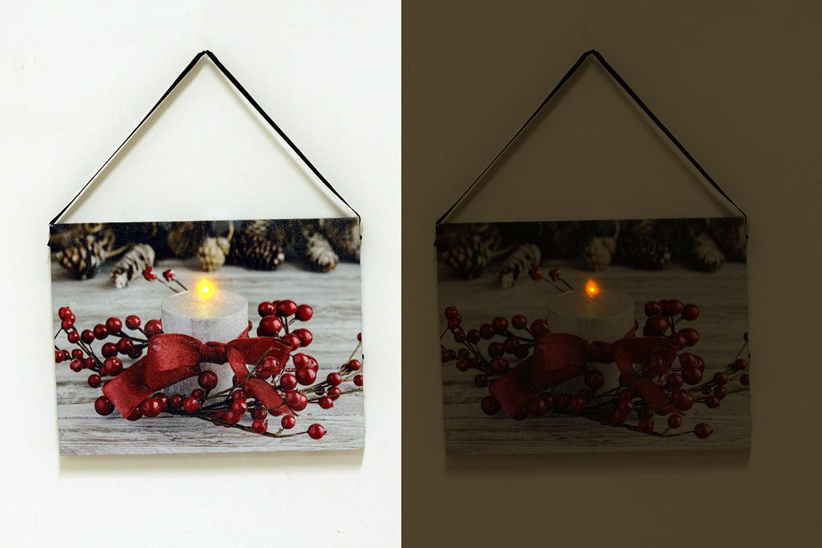 Autronic - Nástěnný obraz, svíticí - LED, zimní motiv - BD520
