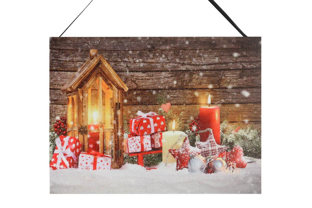 Autronic - Obraz nástěnná svítící dekorace - 3 ks LED světla, zimní motiv - BD611