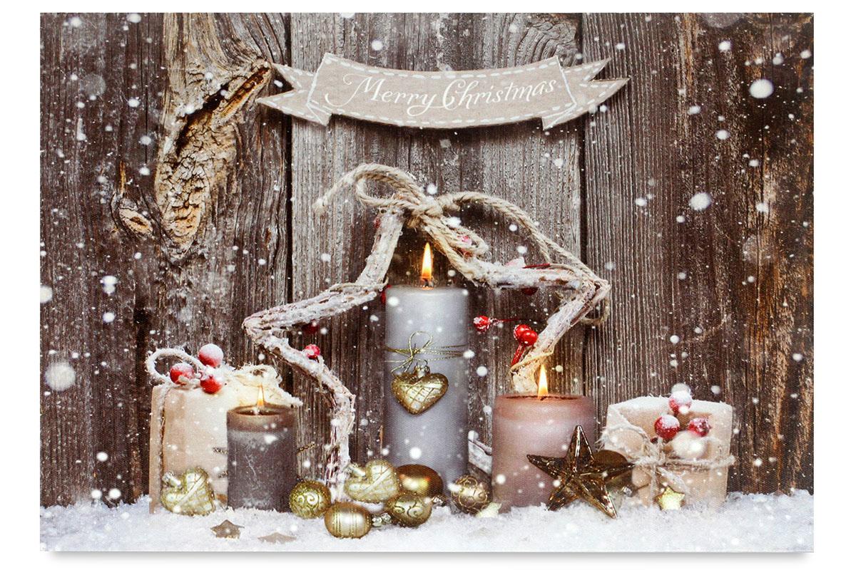 Autronic - Obraz, dekorace se stojánkem, svíticí - 1 ks LED světla, zimní motiv - BD648