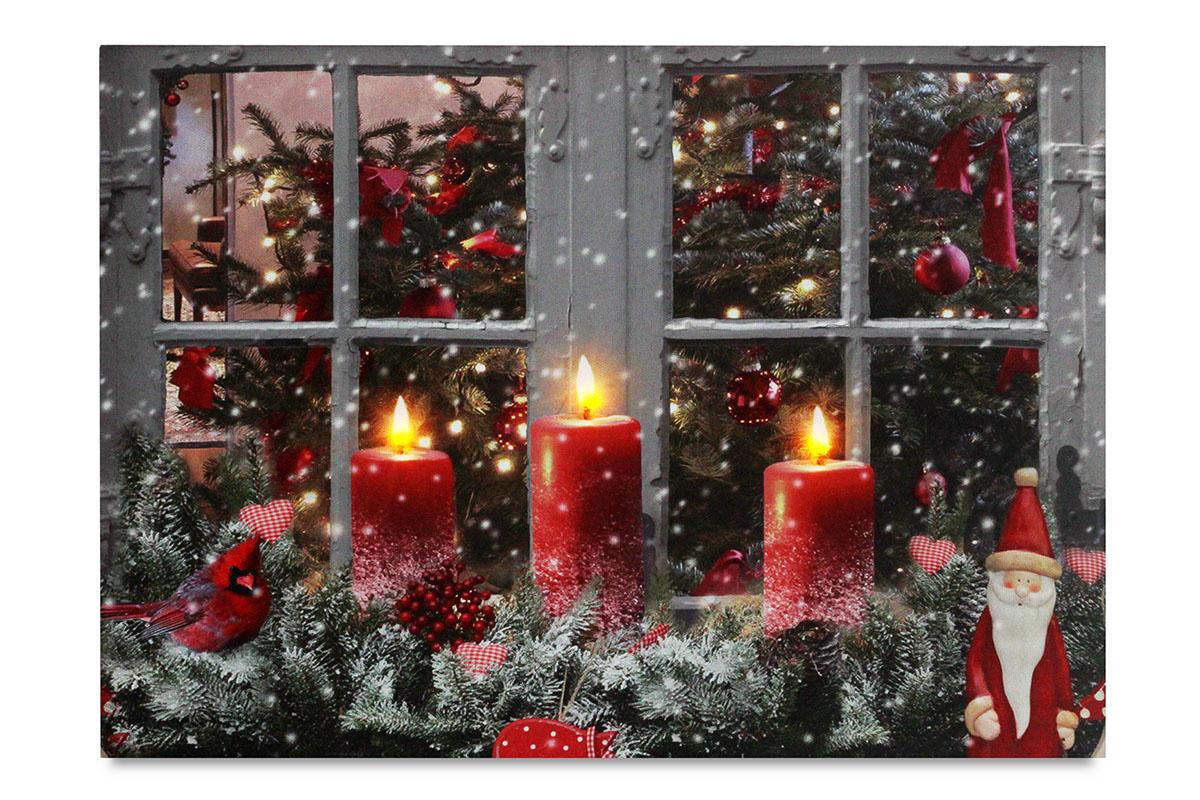 Autronic - Obraz nástěnná svítící dekorace - 3 ks LED světla, sfoukávací, zimní motiv - BD649