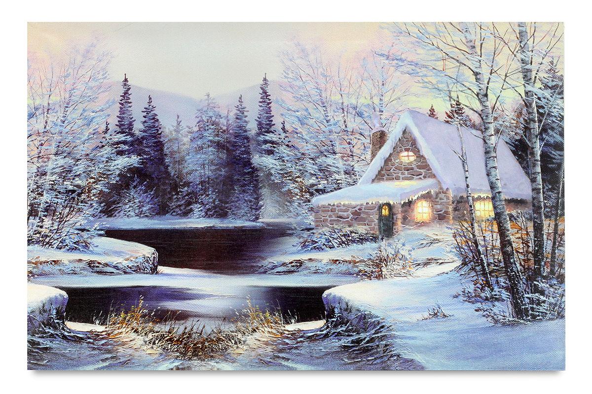 Autronic - Obraz nástěnná svítící dekorace - 3 ks LED světla, zimní motiv - BD656