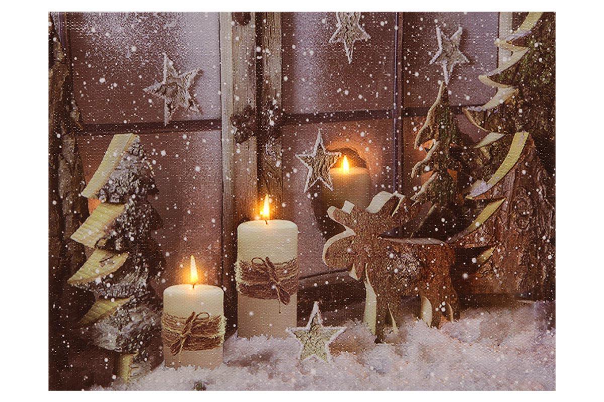 Autronic - Obraz nástěnná svítící dekorace - LED světla, zimní motiv - BD661