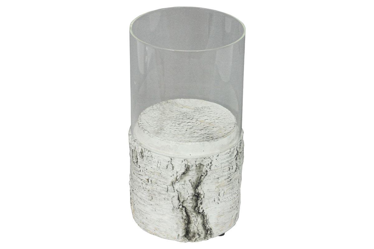 Autronic - Svícen ze skla a betonu s dekorem břízy - BMO3083