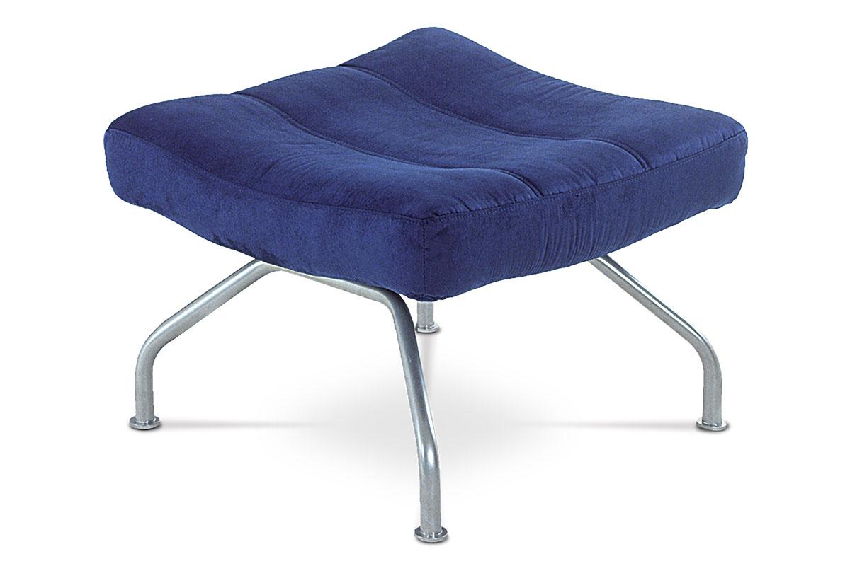 Autronic - Taburet, modrá látka, kov, šedostříbrný lak - BS-SU2 BLUE