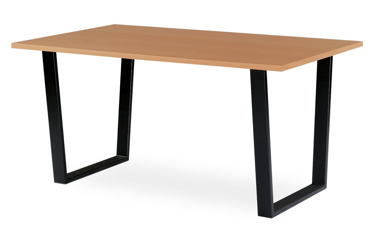Autronic - Jídelní / kancelářský stůl 150x90 cm, MDF + dýha tmavý buk, kovová podnož, černý matný lak - BT-3000 BUK3