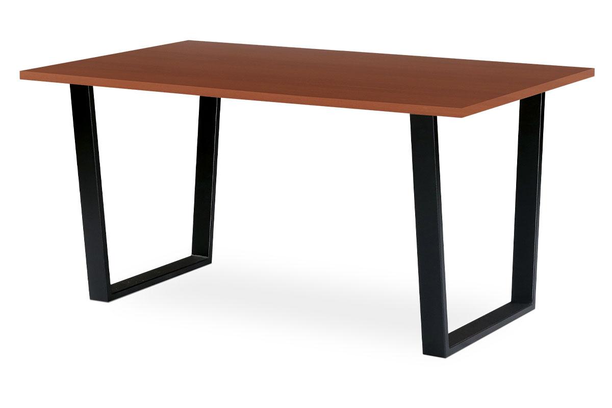 Autronic - Jídelní / kancelářský stůl 150x90 cm, MDF + dýha tmavá třešeň, kovová podnož, černý matný lak - BT-3000 TR3