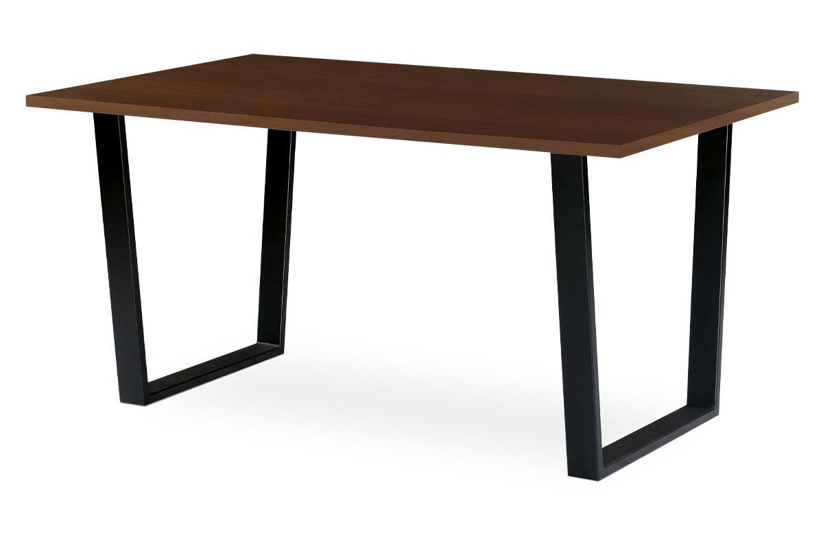 Autronic - Jídelní / kancelářský stůl 150x90 cm, MDF + dýha ořech, kovová podnož, černý matný lak - BT-3000 WAL