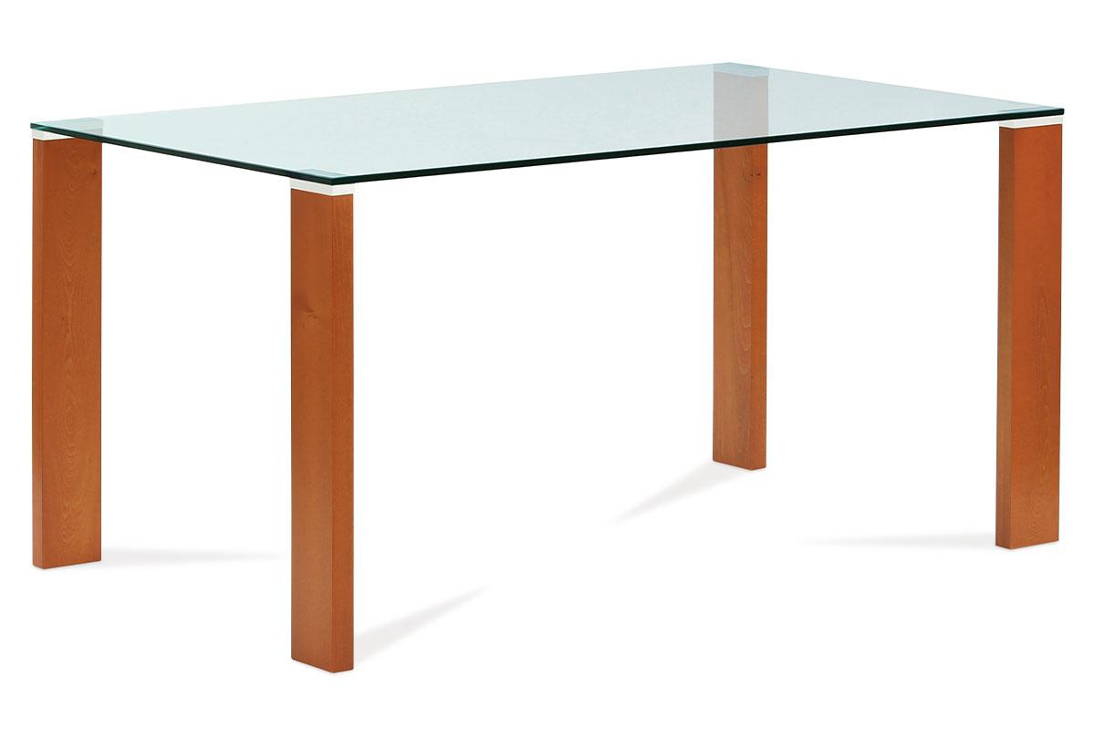 Autronic - Jídelní stůl 150x90 cm, barva třešeň / sklo - BT-6750 TR2
