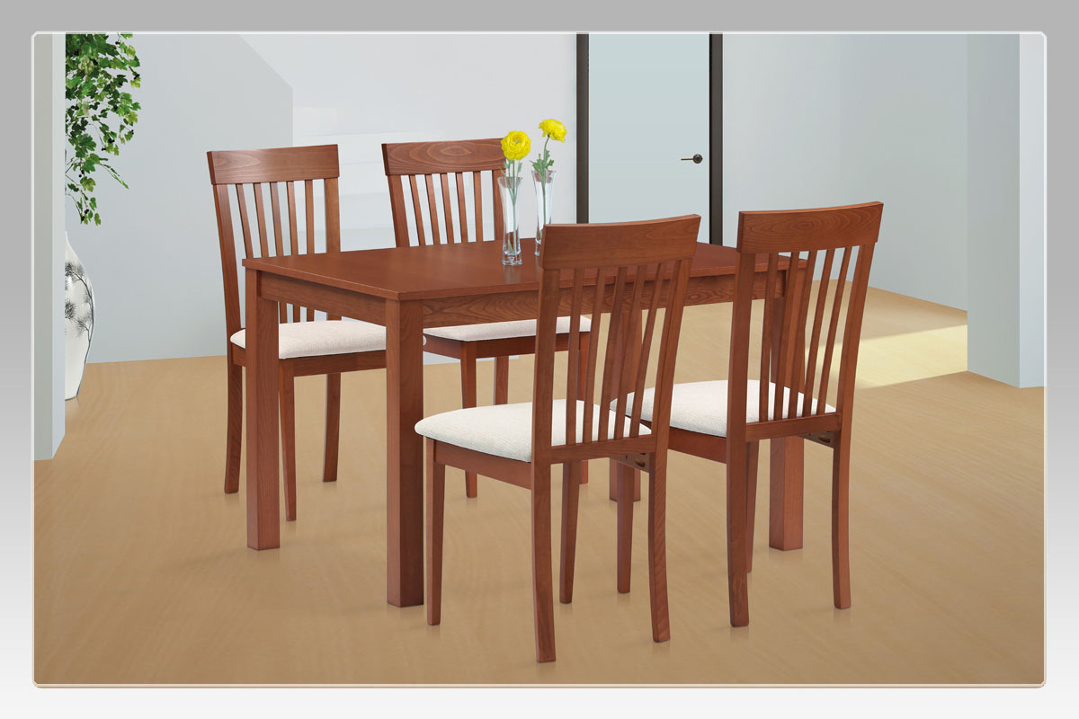Jídelní židle, masiv buk, barva třešeň, látkový béžový potah - BC-3950 TR3