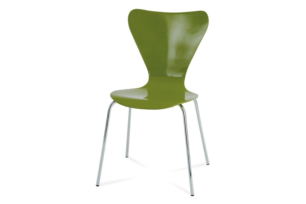 Autronic - Jídelní židle chrom / překližka zelená (lesk) - C-180-5 GRN