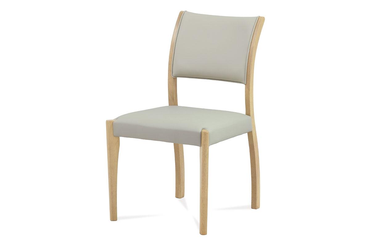 Autronic - Jídelní židle bělený dub / koženka lanýžová - C-186 OAK1
