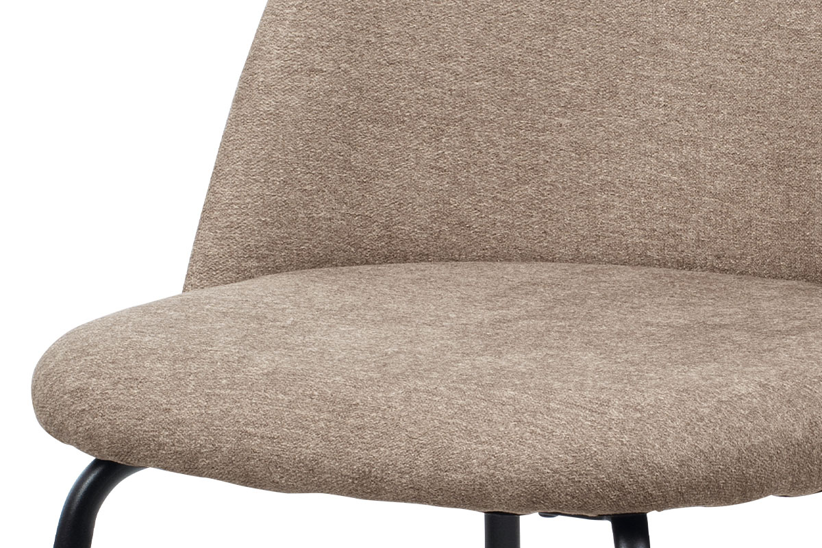 Jídelní židle, cappuccino látka, kovová čtyřnohá podnož, černý matný lak - CT-017 CAP2