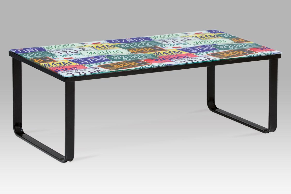 """Autronic - Konferenční stolek 105x55x38 cm, sklo s potiskem """"SPZ"""" / černá - CT-1011 SPZ"""