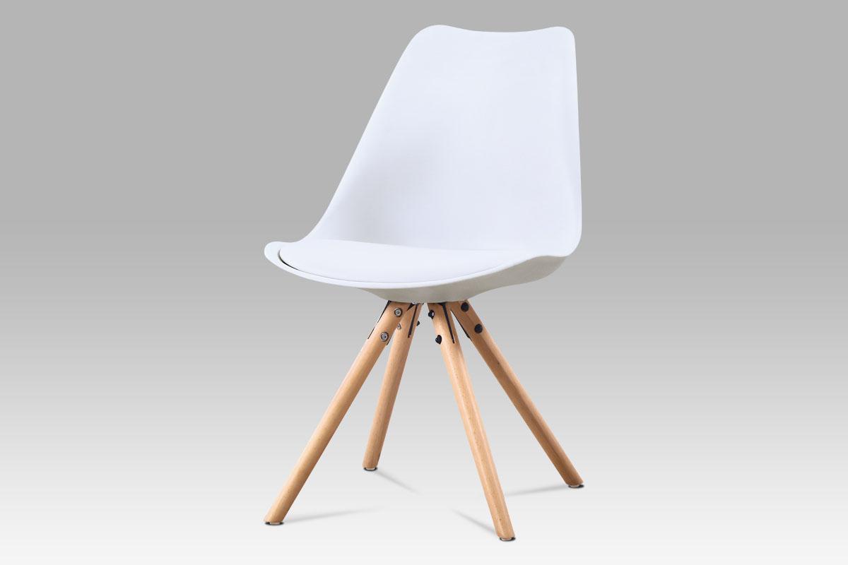 Autronic - Jídelní židle, bílá plast + ekokůže, masiv buk - CT-233 WT