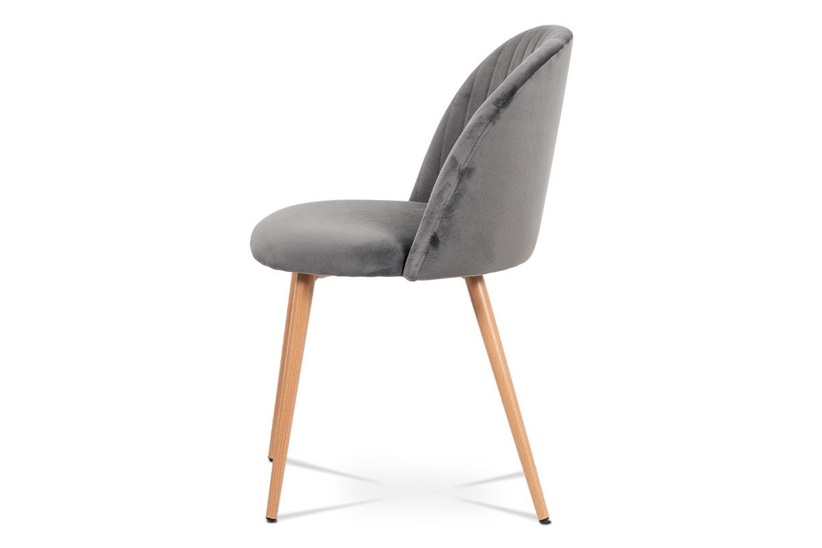 Jídelní židle - šedá sametová látka, kovová podnož, 3D dekor buk - CT-381 GREY4