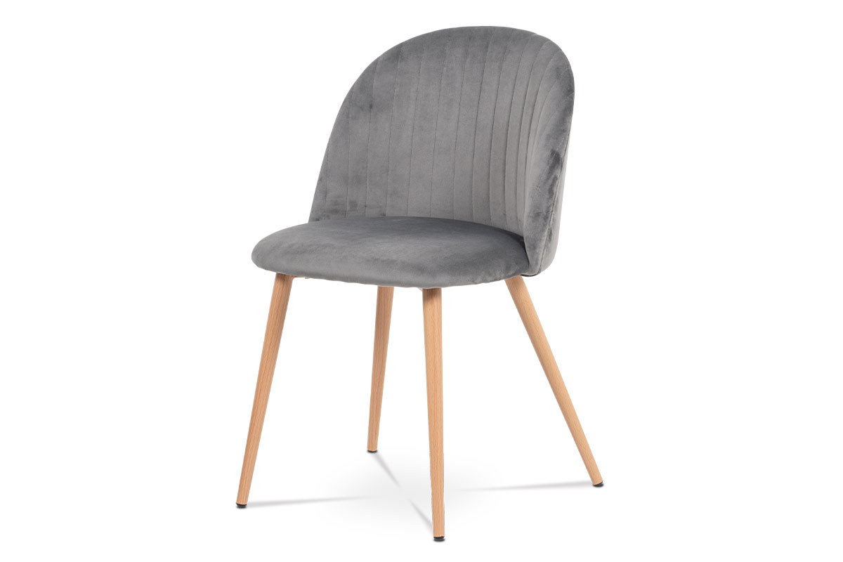 Autronic - Jídelní židle - šedá sametová látka, kovová podnož, 3D dekor buk - CT-381 GREY4