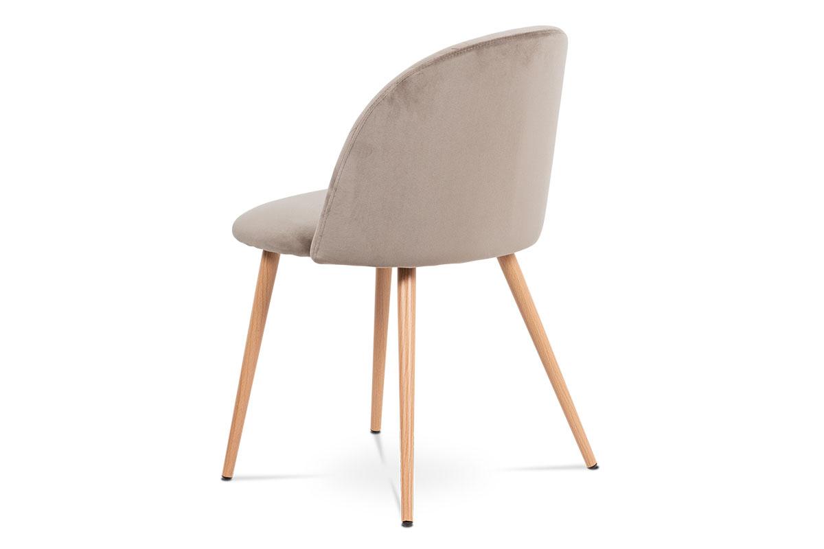 Jídelní židle - lanýžovásametová látka, kovová podnož, 3D dekor buk - CT-381 LAN4