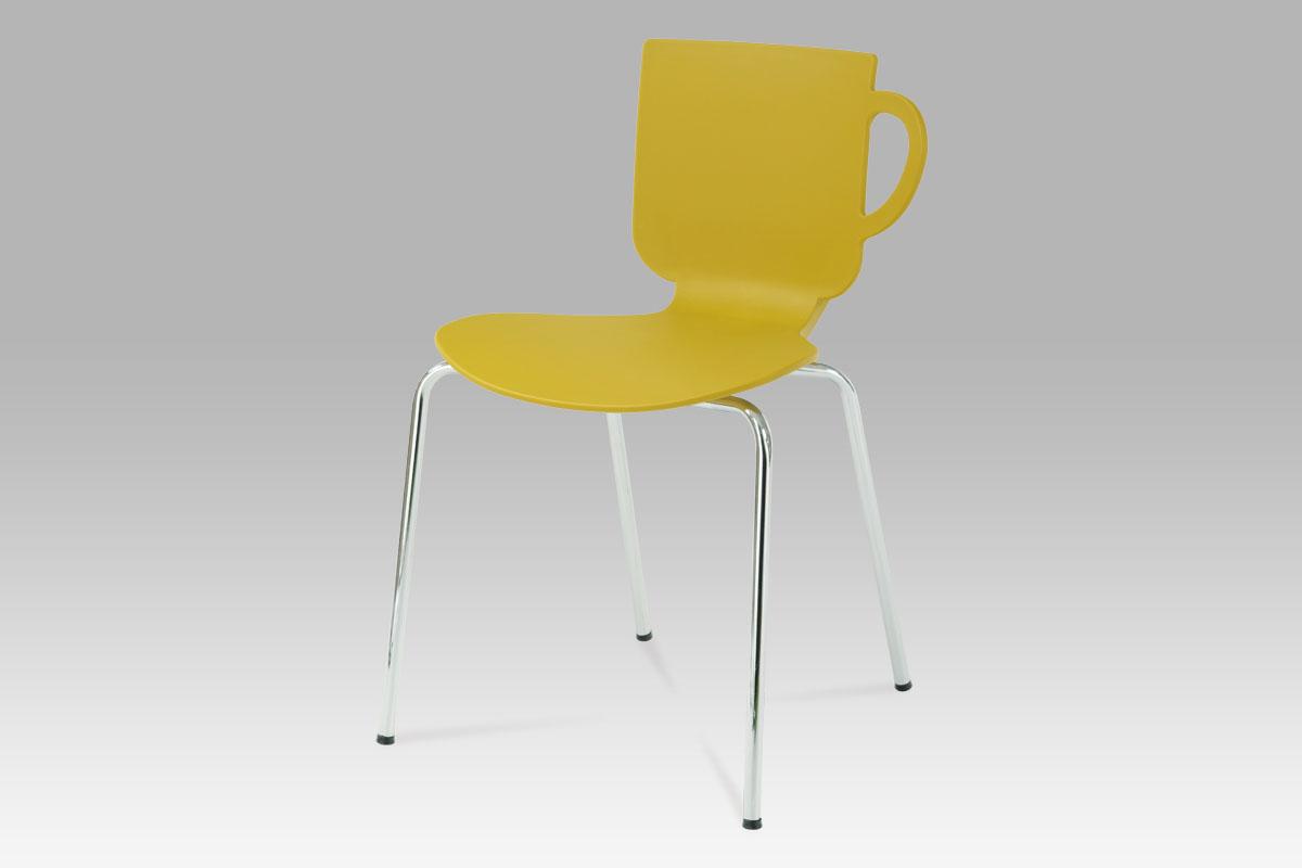 Autronic - Jídelní židle kari, plast / chrom - CT-388 KARI