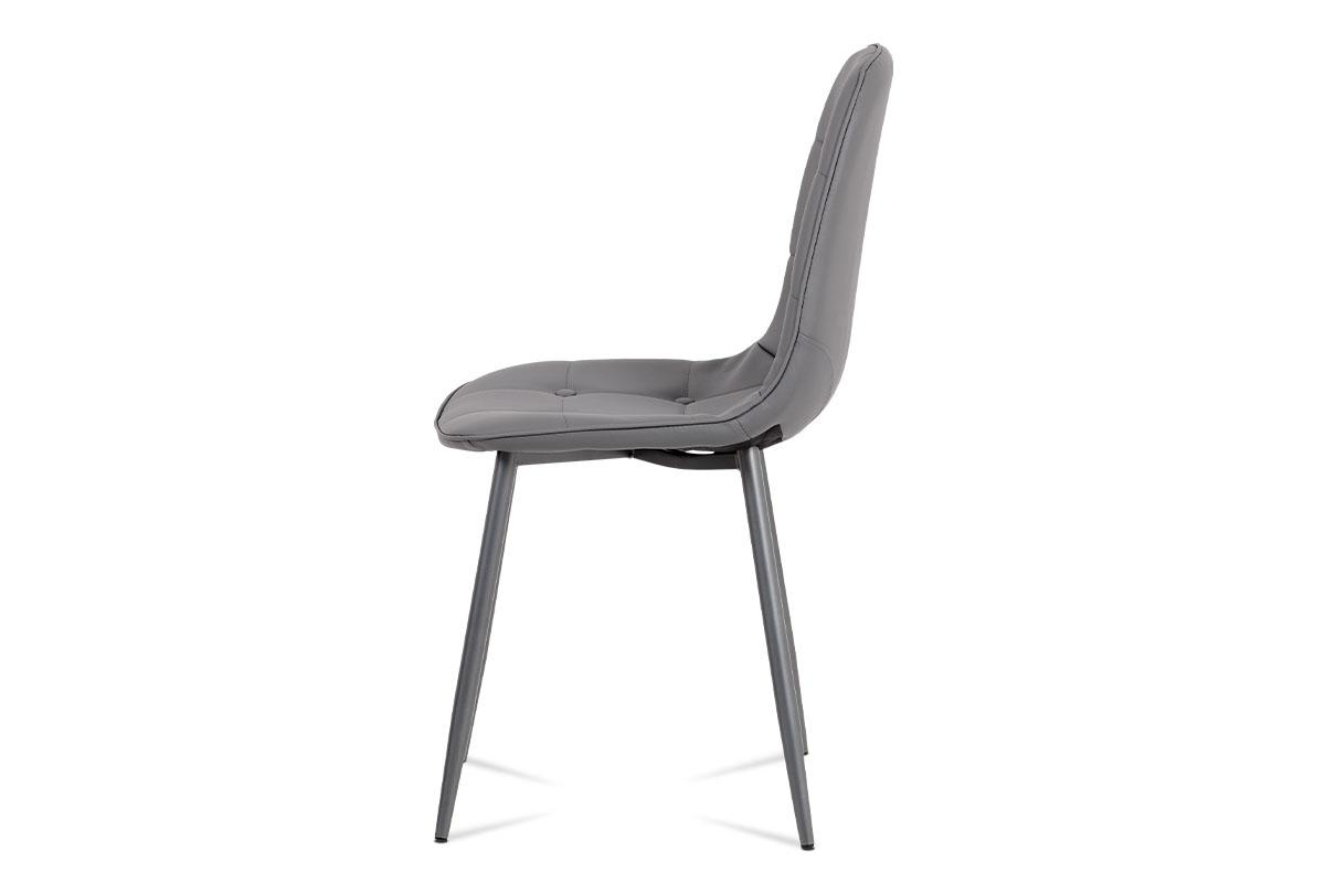 Jídelní židle, šedá ekokůže, kov antracit - CT-393 GREY