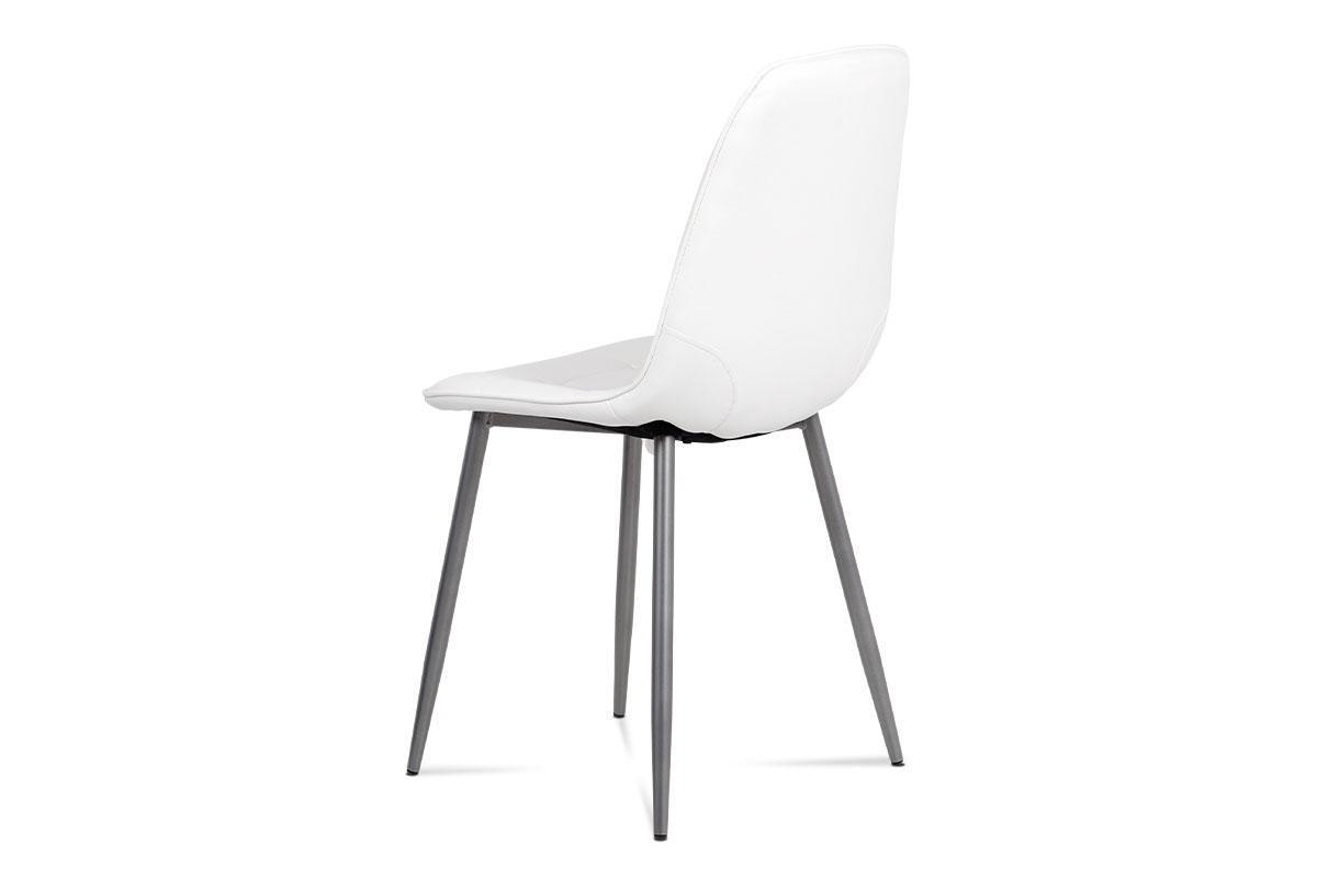 Jídelní židle, bílá ekokůže, kov antracit - CT-393 WT