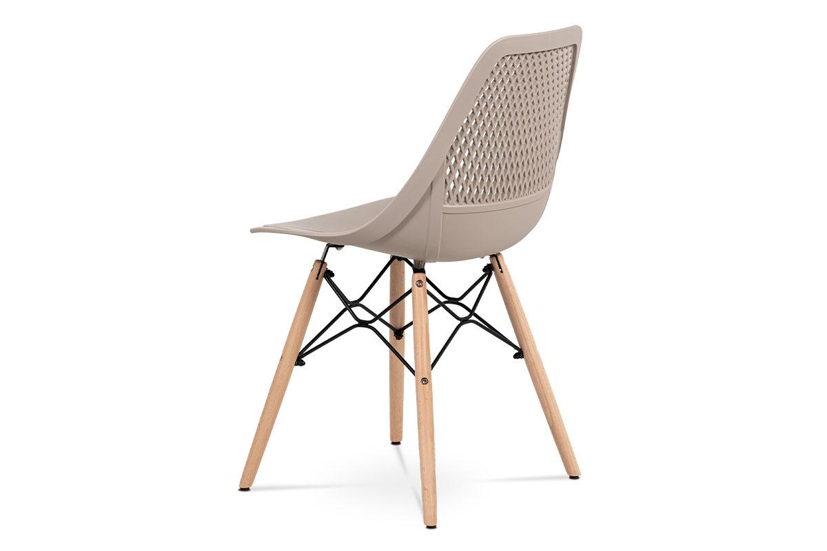 Jídelní židle - cappuccino plast, masiv buk, přírodní odstín, kov černý matný la - CT-521 CAP