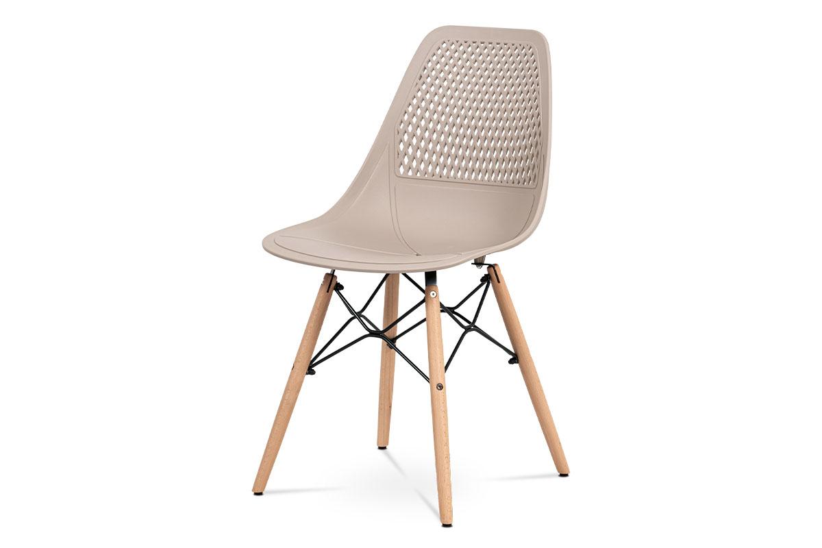 Autronic - Jídelní židle - cappuccino plast, masiv buk, přírodní odstín, kov černý matný lak - CT-521 CAP