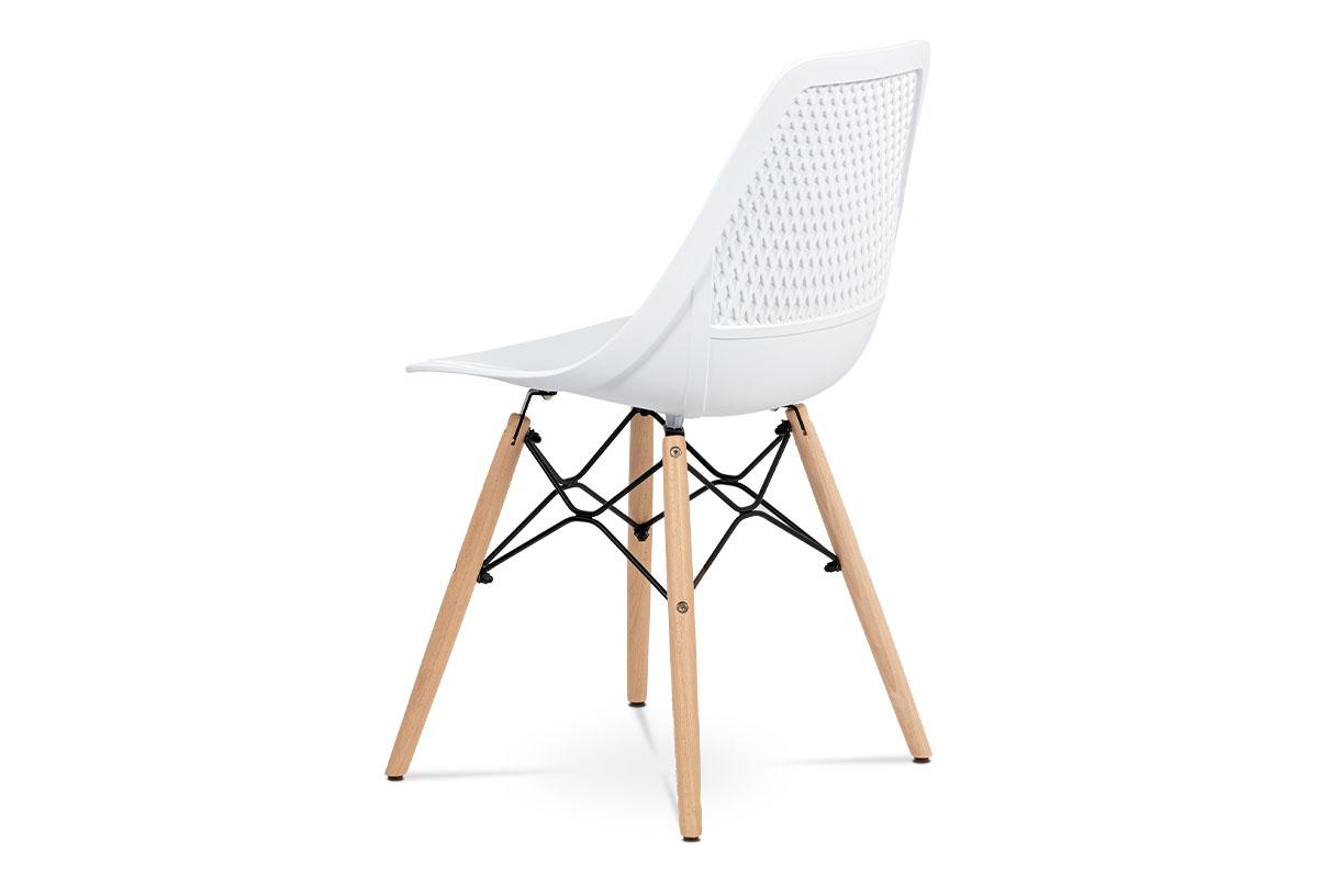Jídelní židle - bílý plast, masiv buk, přírodní odstín, kov černý matný lak - CT-521 WT