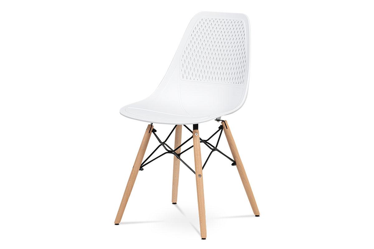 Autronic - Jídelní židle - bílý plast, masiv buk, přírodní odstín, kov černý matný lak - CT-521 WT