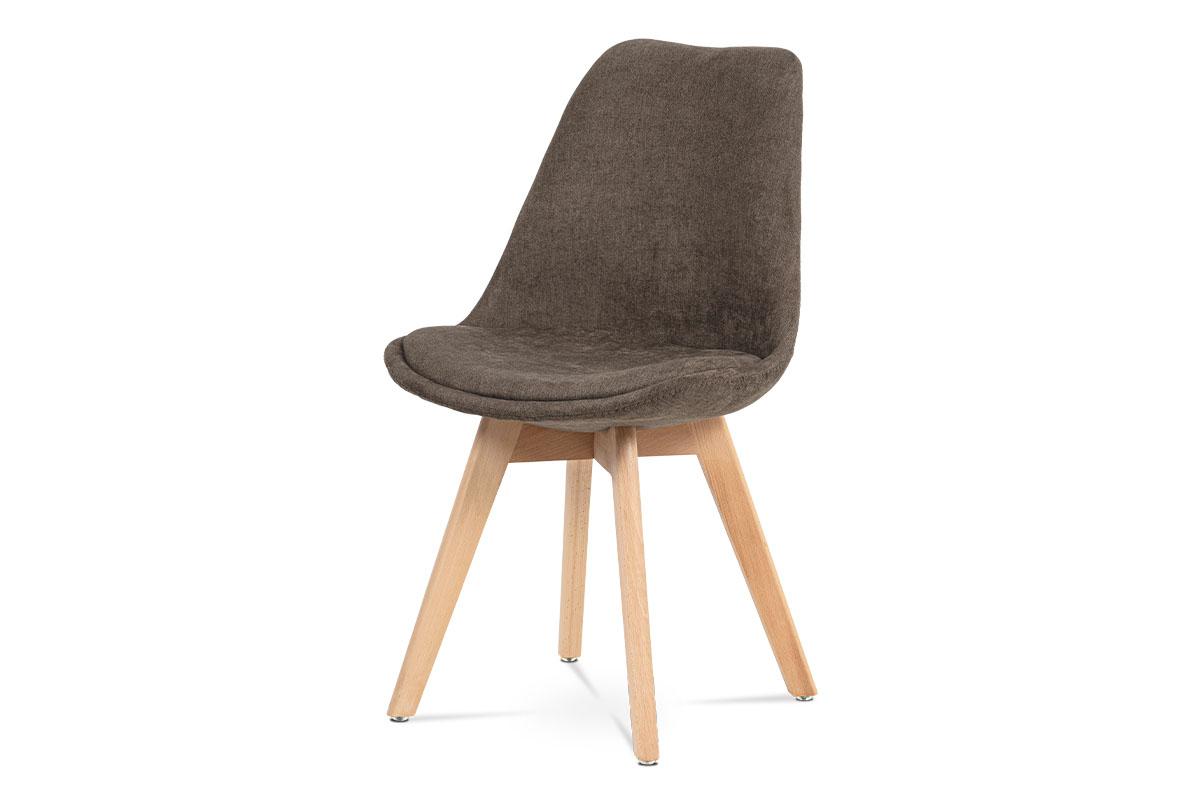 Autronic - Jídelní židle, hnědá látka, masiv přírodní odstín - CT-555 BR2