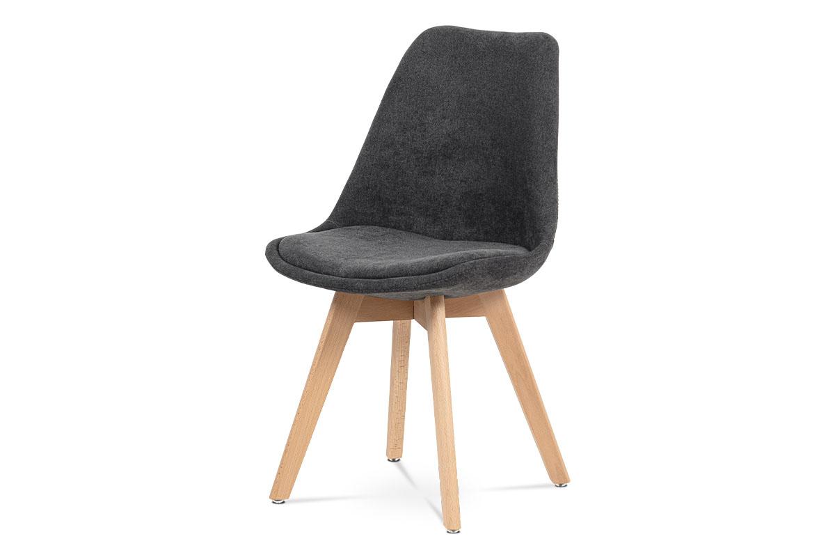 Autronic - Jídelní židle, šedá látka, masiv přírodní odstín - CT-555 GREY2